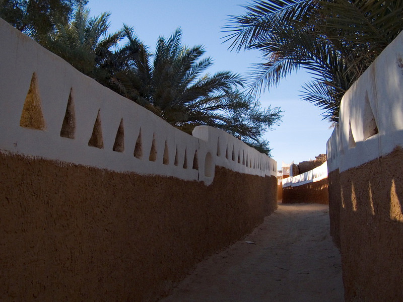 Ghadames.  Within and around the old town are open areas used for agriculture.