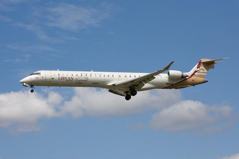 "5A-LAD Canadair Regional Jet CRJ-900 ""Libyan Airlines"" c/n 15214 Heathrow/EGLL/LHR 18-07-09"