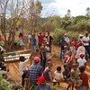 Getting gurney ready for deceased mummy to be dug up at Famadihana. Central Highlands, Madagascar