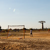 Football game among baobabs