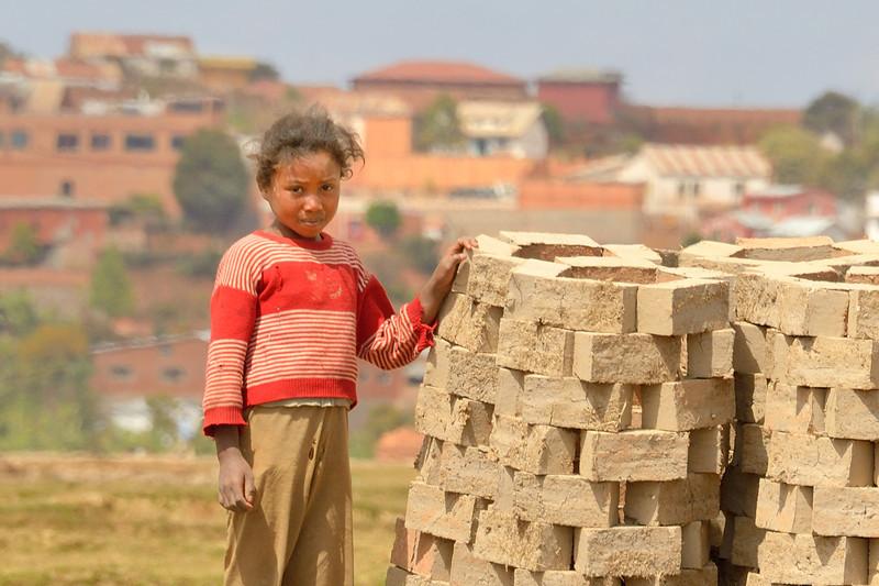 Little girl at the brickworks