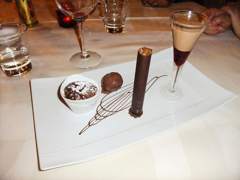 Our farewell dinner at La Varangue Restaurant-Dave & Sherri's shared Chocolate Quartet