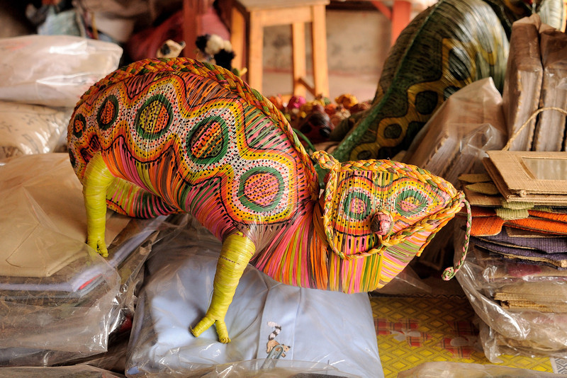 A Carpet Chameleon in raffia at the Artisan Market