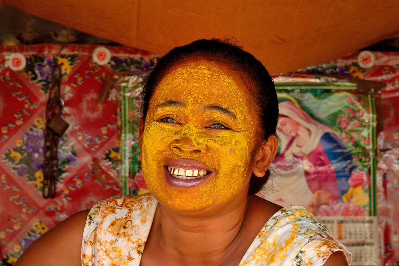A woman with her beauty mask on