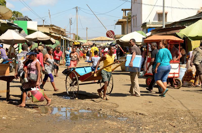 Rickshaws move goods and people around the Antsiranana market