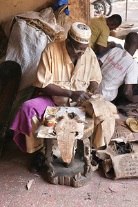 Working on crocodile skins, Bamako