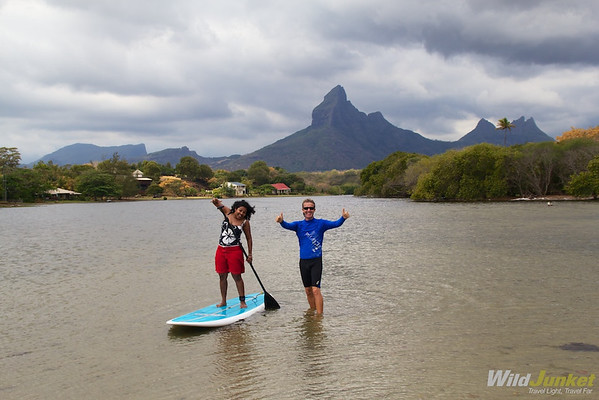 Our friend Meruschka paddleboarding with Arnaud