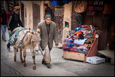 Old man and donkey, Fes Medina