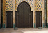 <center>Ornate Doors to Mosque   <br><br>Casablanca, Morocco   <br><br>The double doors that line the mosque are clad in incised bronze. They are shaped like pointed arches and are flanked by columns.    </center>