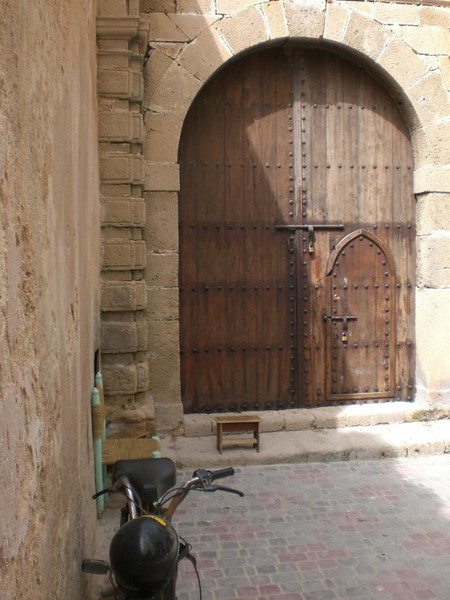 A wooden door in Essaouira, Morocco.