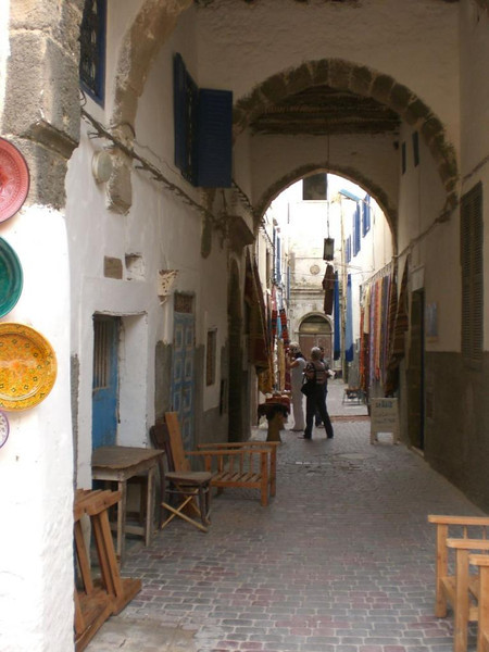 The streets of Essaouira's shopping district.