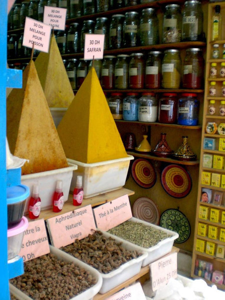 Spices for sale in Essaouira, Morocco.