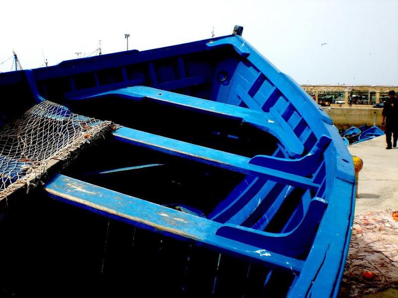 A blue boat in Essaouira, Morocco.