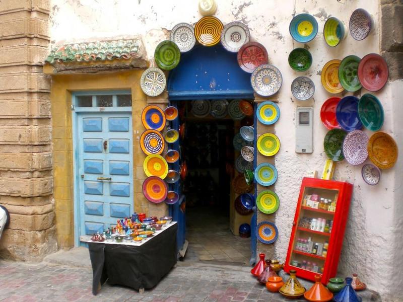 Plates on display in Essaouira, Morocco.