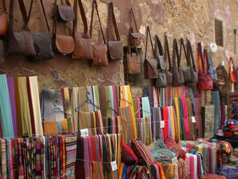 Bags for sale in Essaouira, Morocco.