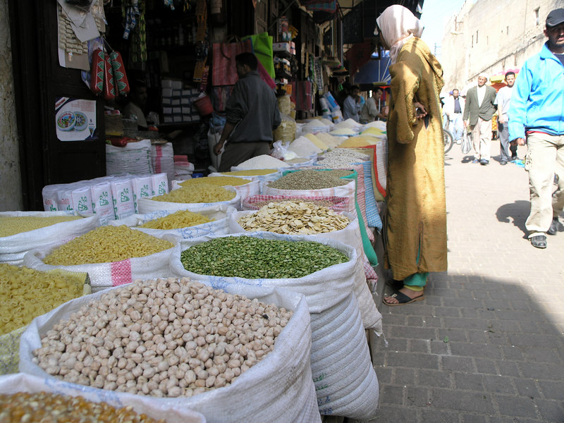 Legumes and grains at the souks.