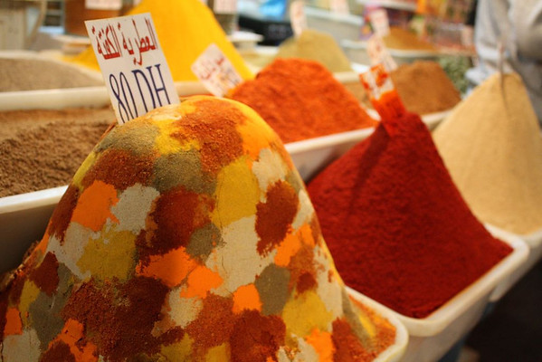 Colorful spices in Fez