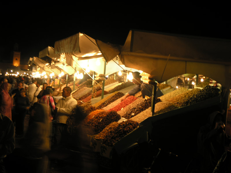 Dried fruits and nuts vendors in Djemma el Fna.