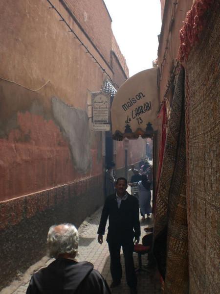 Inside the medina in Marrakesh.