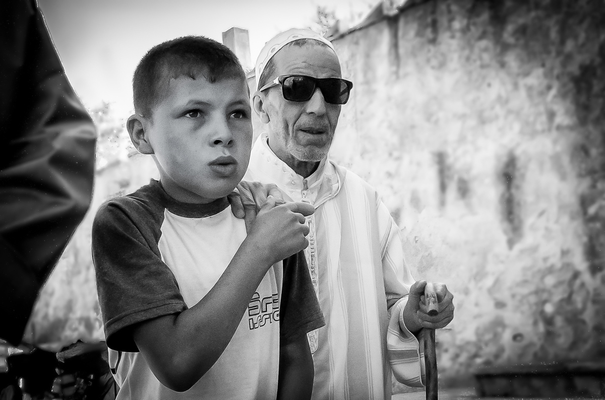 Young Boy Helping His Grandfather in Tetouan, Morocco
