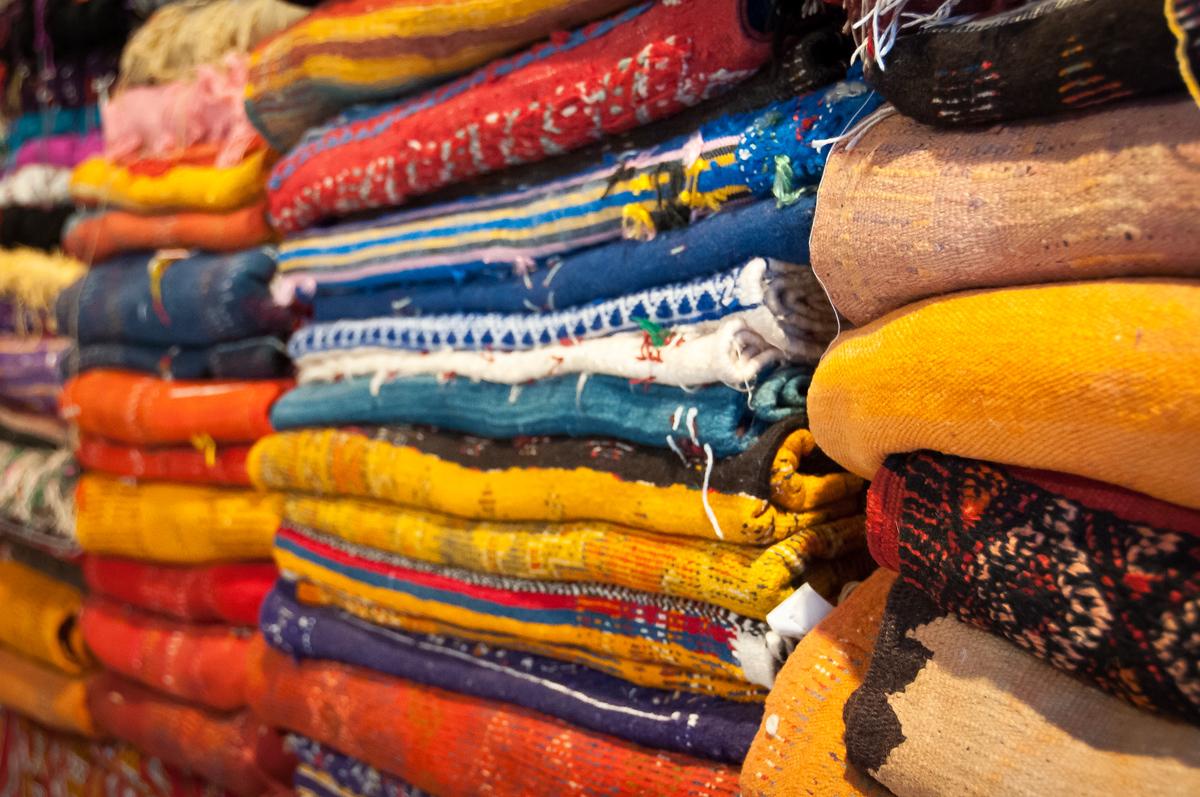 Stacks of Blankets in Tetouan, Morocco