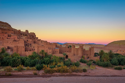 Sunset behind Ait Benhaddou in Morocco