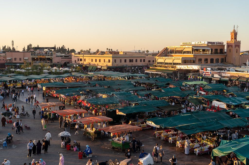 Djemaa el-Fna square at sunset
