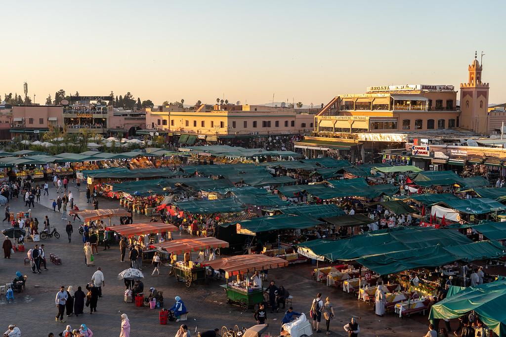 Djemaa el-Fna square at sunset