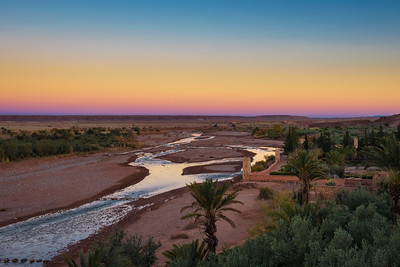 Asif Ounila river at Ait Benhaddou in Morocco seen at sunset