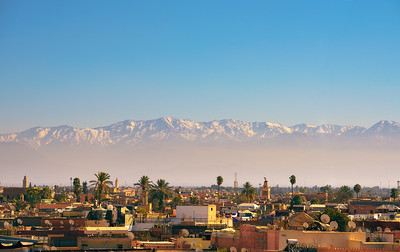 Marrakesh city skyline with Atlas mountains in the background