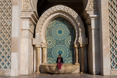 Amanda at Hassan II Mosque in Casablanca