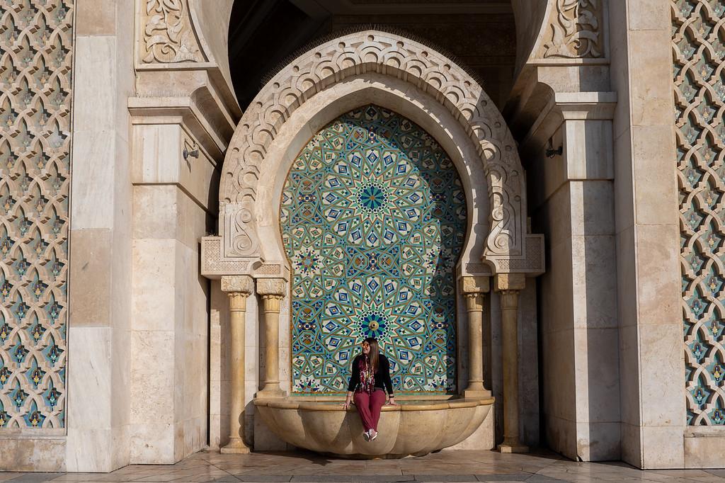 Amanda at Hassan II Mosque in Casablanca