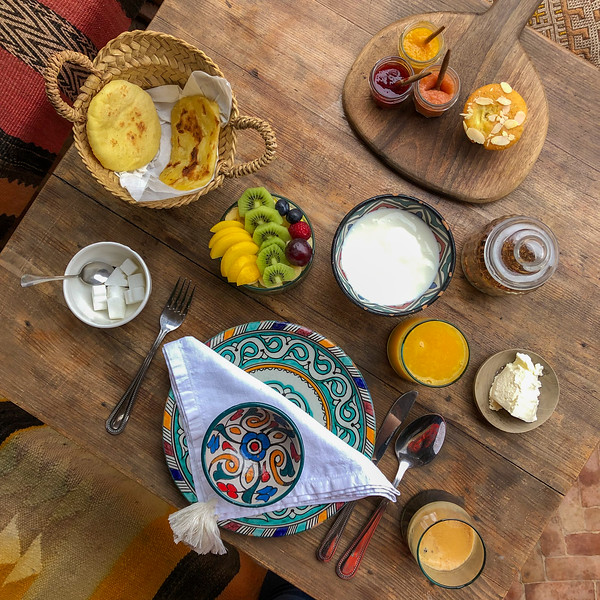 Breakfast spread at Riad BE