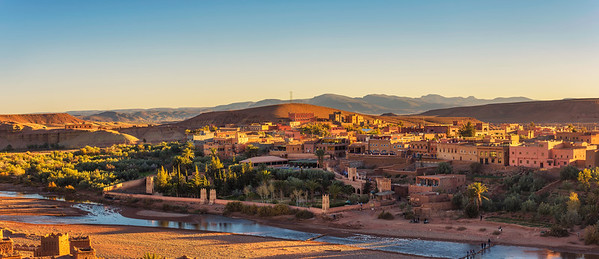 Sunset panorama of Ait Benhaddou in Morocco