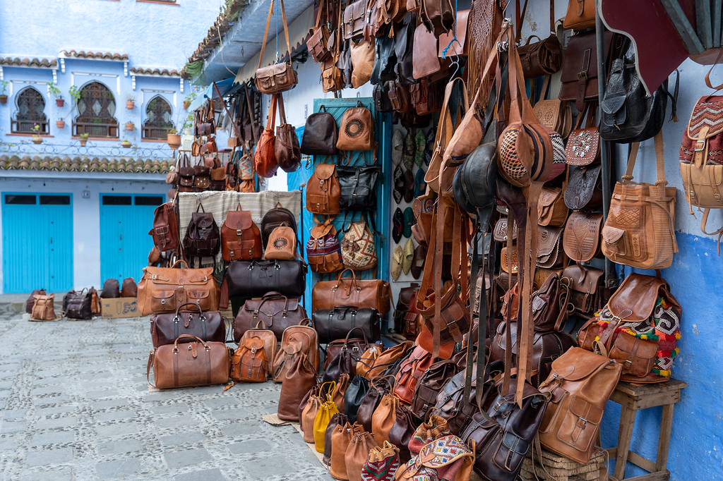 Leather bags in Chefchaouen, Morocco