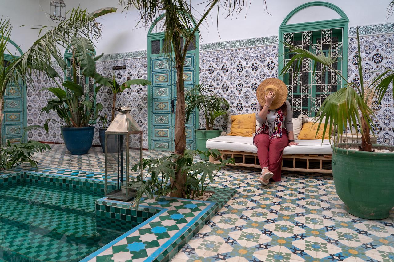 Amanda inside a Morocco riad