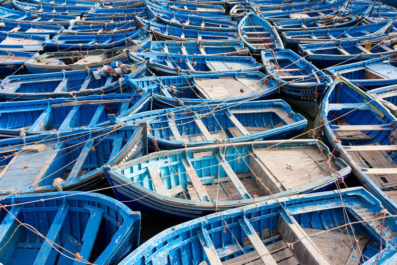 Lots of boats.<br /> <br /> Location: Essaouira, Morocco<br /> <br /> Lens used: Canon 17-55mm f2.8 IS