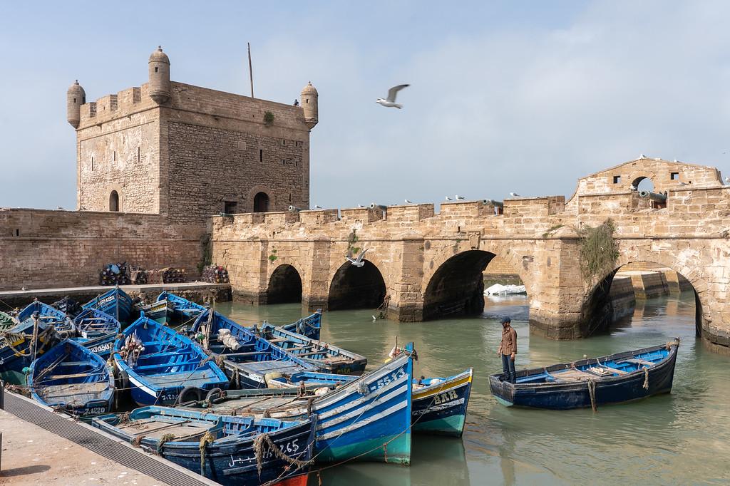 Essaouira ramparts and fishing boats