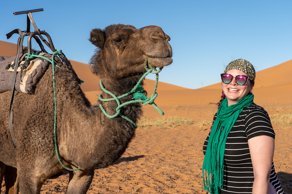 Amanda with a camel in Morocco