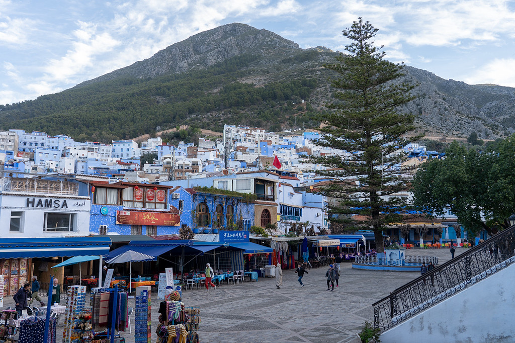Main square in Chefchaouen, Morocco