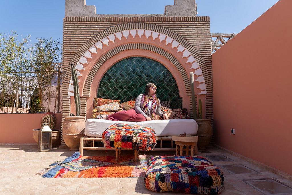 Amanda on the rooftop of Riad BE
