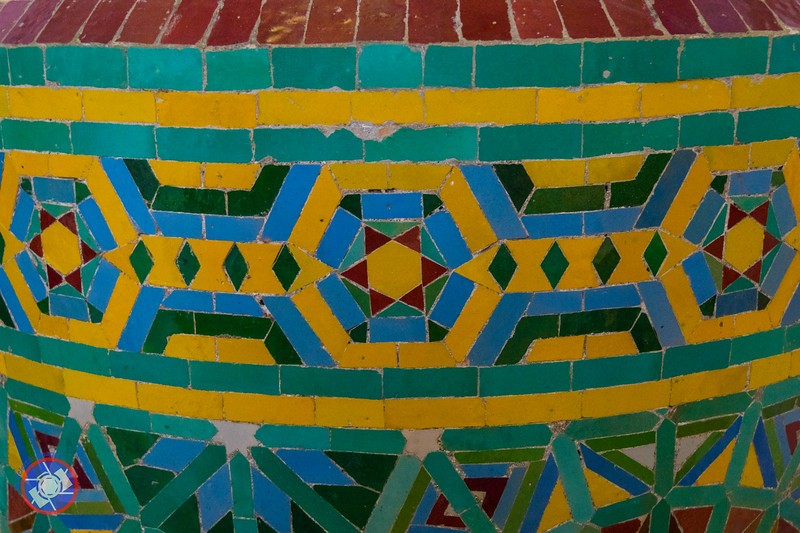 Decorative Tile Work at the Base of the Columns with a Star of David Motif in the Ablution Room of the Hasan II Mosque in Casablanca (©simon@myeclecticimages.com)