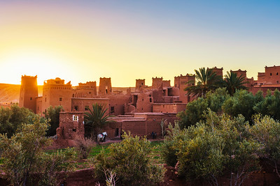 Sunset above ancient city of Ait Benhaddou in Morocco
