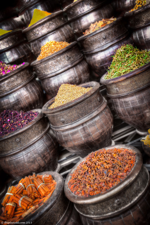 Colourful spices in the Souks of Marrakech