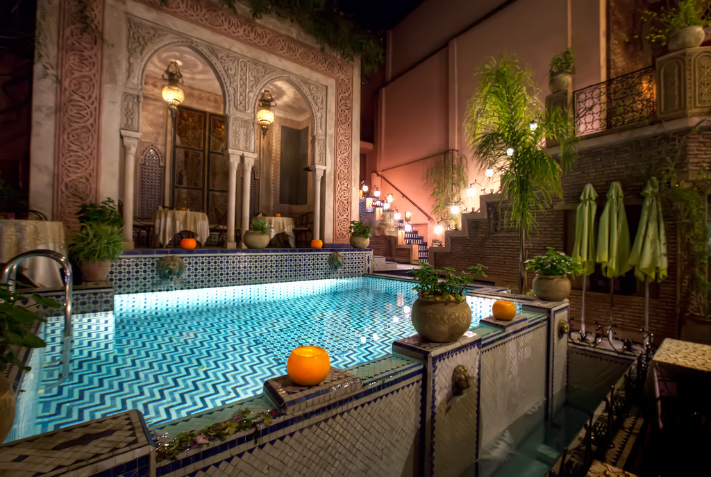 central courtyard pool at the palais sebban in marrakech morroco