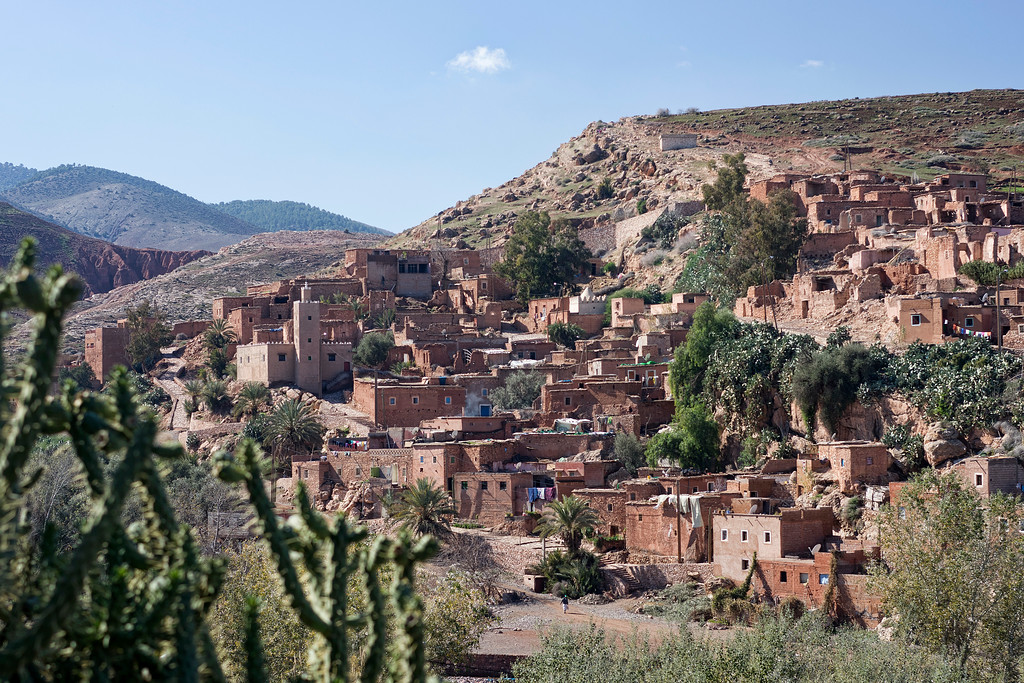 berber village with mosque in asni valley between marrakech and atlas amountains