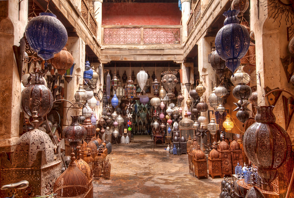 collection of metal lamps on display in marrakech souk