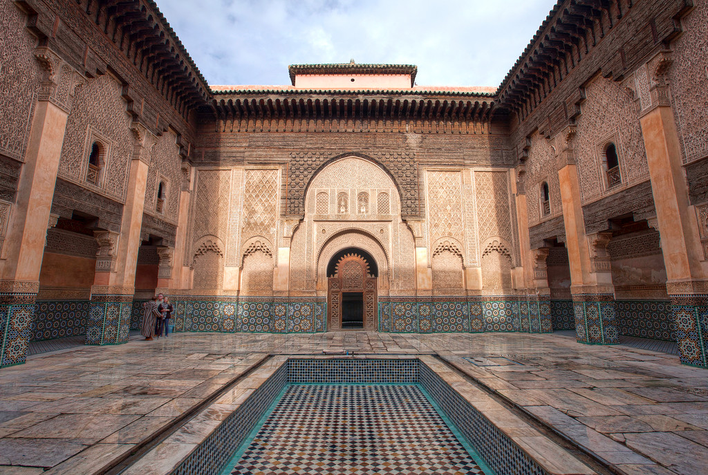 ornate central courtyard of the Ben Youssef Madrasa, Morrocco