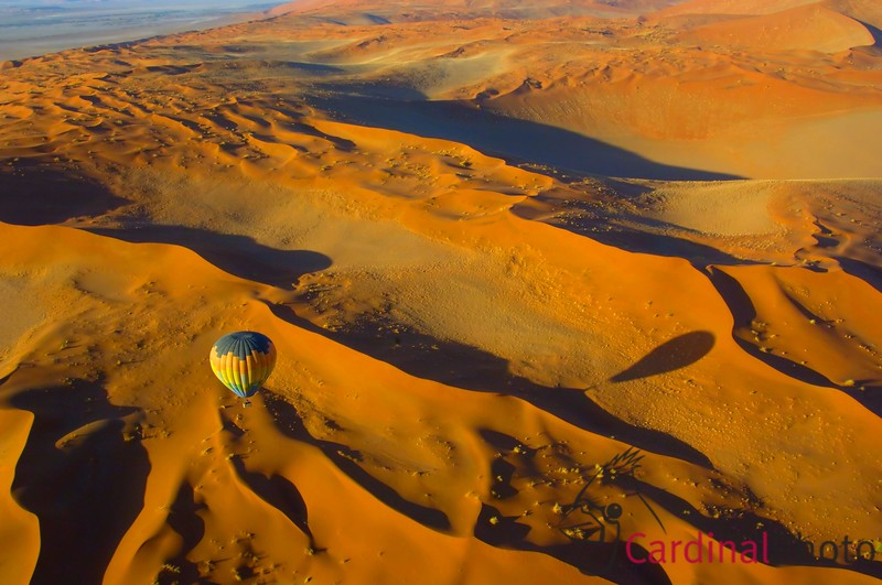 Hot-air ballooning is a glorious adventure anywhere in the world but nowhere more than in the Namib desert over the stunning red sand dunes which are unreachable any other way. It is even more fun when two balloons go up at once so that you can photograph the other balloon.