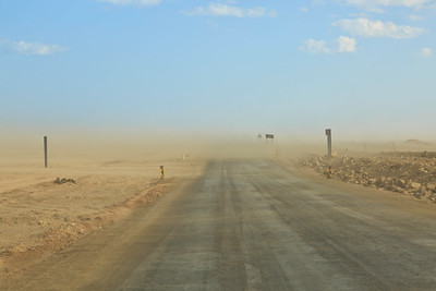 C34 highway near Henties Bay with blowing sand